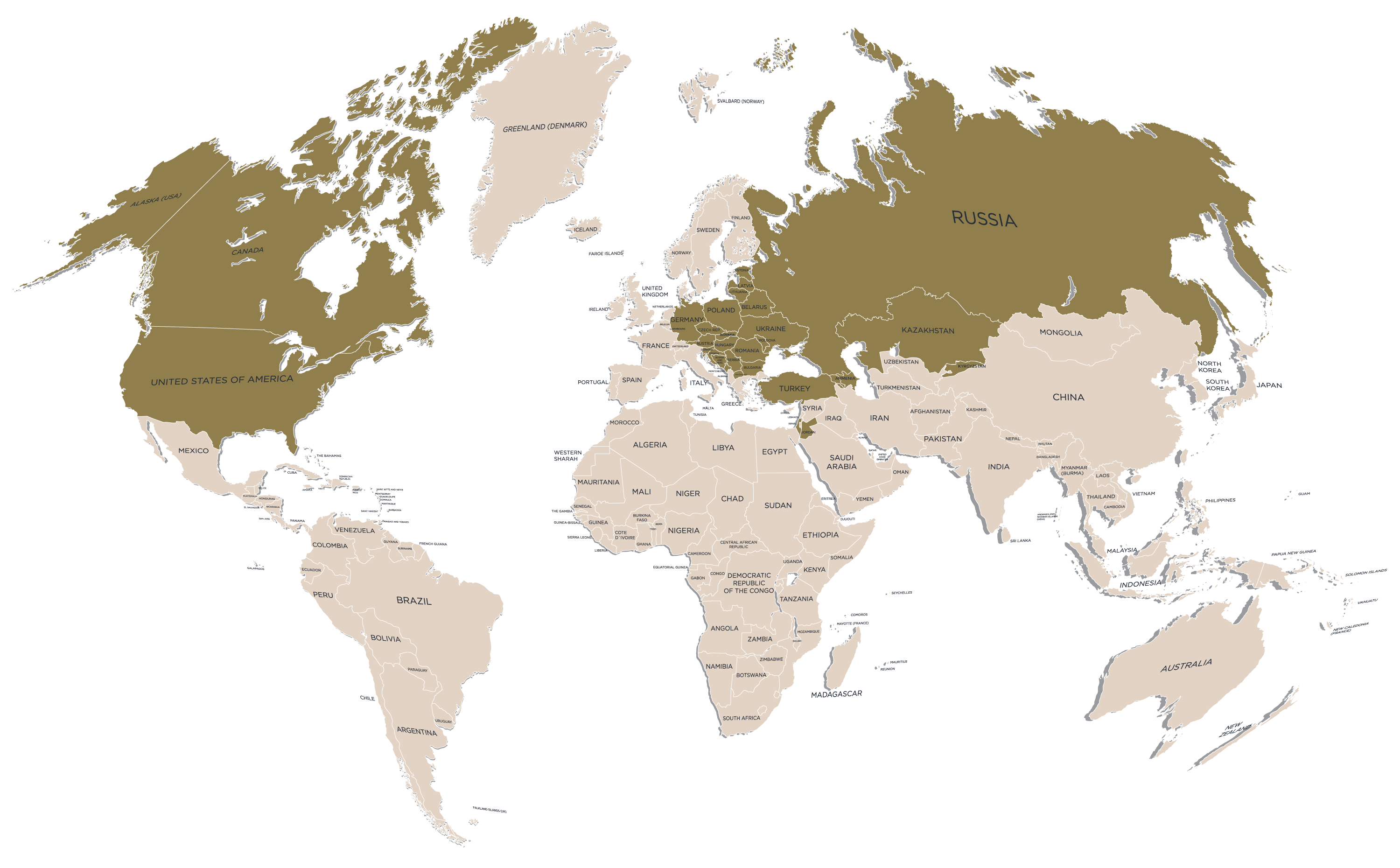 Family Tree Ltd. - map of countries we research in